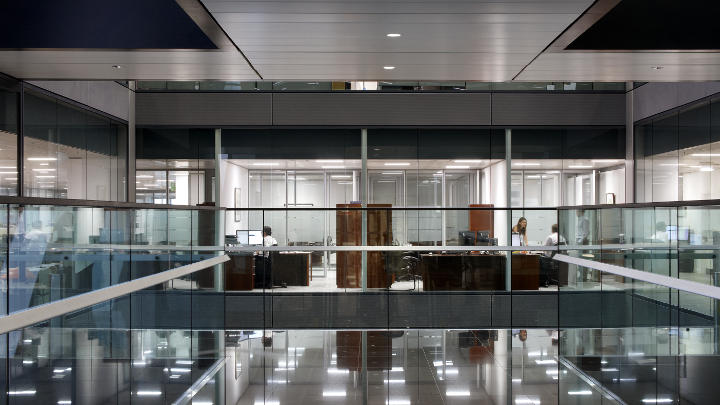 External view of Citi, London, lit with Philips office lighting