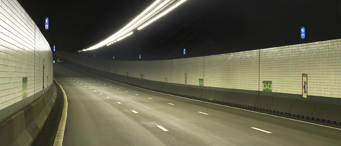 A tunnel illuminated by Philips Lighting